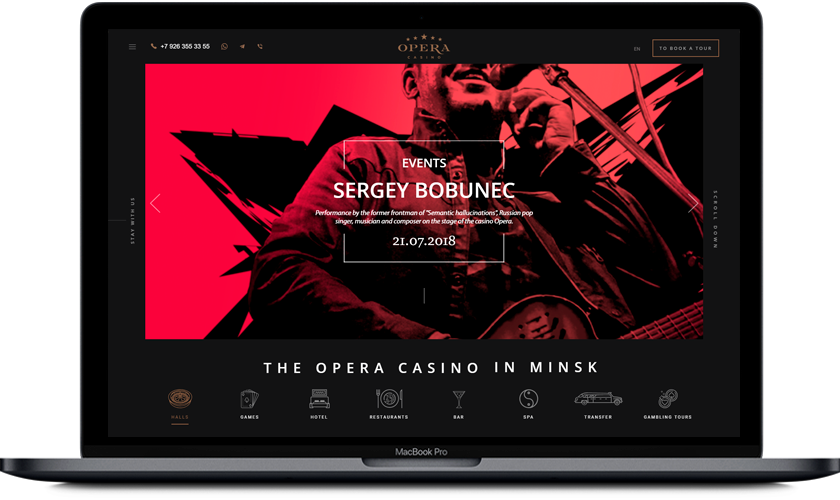 "Corporate website for the ""Opera"" casino and the ""Beijing"" hotel"